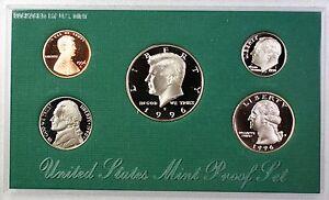 1996-S US Mint Proof Set 5 Gem Coins w/Original Box & COA