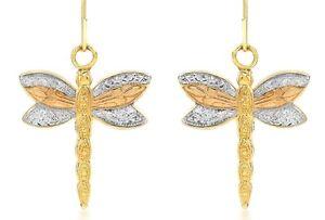 9ct Yellow, White, Rose Gold Dragonfly Earrings Drop / Dangle Earrings