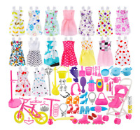 114PCS Barbie Doll Clothes Party Gown Shoes Bag Necklace Mirror Hanger Accessory