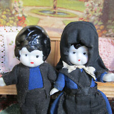 Antique 20s Bisque Amish Doll Couple 1920s Frozen Charlotte Bride Groom Boy Girl