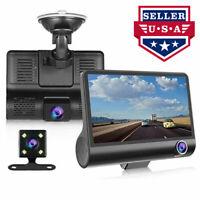 Novpeak 4'' 1080P 3 Lens Car DVR Dash Cam Vehicle Video Recorder Rearview Camera