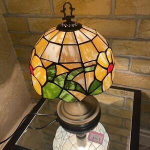 Tiffany Style Table Bedside Touch Control Lamp Faux Stained Floral Glass Shade