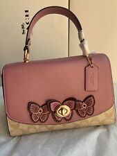 New COACH 2306 Tilly Top Handle satchel  Signature tote bag Butterfly Appliqué