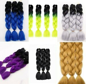 24 inch Ombre Kanekalon Jumbo Braid Synthetic Braiding Hair Extensions UK