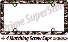 Camouflage Girl Hunting Chrome/Pink License Plate Frame Car/Truck Tag Holder New