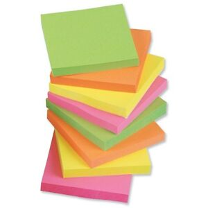 NEW Assorted Neon Post Notes, Remove Sticky Notes, 76mm x 76mm. 12 packs of 100