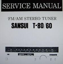 SANSUI T-60 T-80 Stéréo Tuner service manual Inc Schems Imprimé Bound anglais