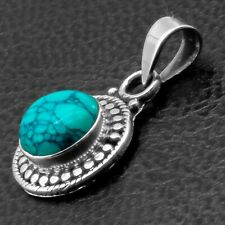 Graceful Solid 925 Sterling Silver TURQUOISE Gemstone Necklace Pendant Gift Box