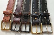 "AMISH MADE WICKETT & CRAIG 1.5"" STITCHED REAL LEATHER WORK GUN HOLSTER BELT USA"