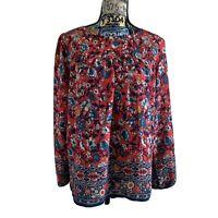 LOFT Outlet Red Blue Floral Size M Boho Peasant Top Blouse Keyhole Back