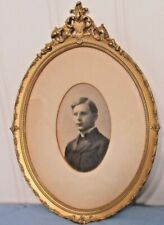ANTIQUE Oval Ornate Gold Gilt Gesso Wood Frame Portrait of Young Man 1890's