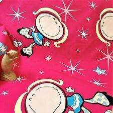 Girls Bold Motif Pink Cotton Fabric 1m x 1.22m, 1 Length, Sew Craft Cushions
