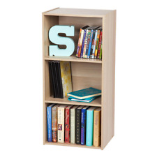 """3 Shelf Standard Bookcase 34.5"""" Light Brown Faux Wood Cube Shelving Home Office"""