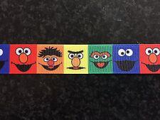"""1m Sesame Street Elmo Bert Ernie Oscar Cookie Monster Grosgrain Ribbon 7/8"""" 22mm"""