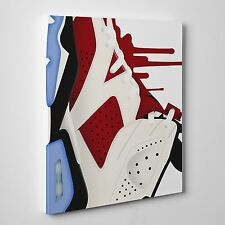 Air Jordan Dripping carmine 6's Gallery Art Canvas 11in x14in
