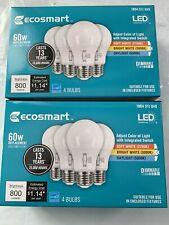 (8)EcoSmart 60-Watt Equivalent A19 Dimmable LED Light Bulb Selectable Color Temp