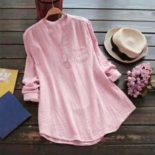 Women V-Neck Button Shirt Long Sleeve Chiffon Loose Tunic Tops T Shirt Blouse Z