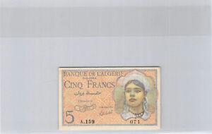 Algérie 5 Francs 8.2.1944 A.159 n° 071 Pick 94a