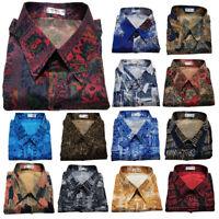 Men's Thai Silk Patterned Shirts Casual Paisley Hawaiian / Short or Long Sleeve
