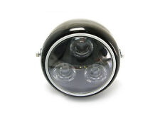 Black Metal Motorbike LED Headlight Blue Halo Ring Fits AJS Cafe Racer Project