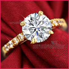 18K GOLD GF WOMENS SOLID 3CT SOLITAIRE LAB DIAMOND WEDDING ENGAGEMENT DRESS RING