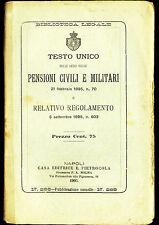 Testo Unico 1903 PENSIONI CIVILI MILITARI Napoli Pietrocola-MILITARY LAW PENSION