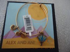 ALEX AND ANI BLUE LOTUS Rafaelian Gold Bangle Bracelet New W/ Tag Card & Box