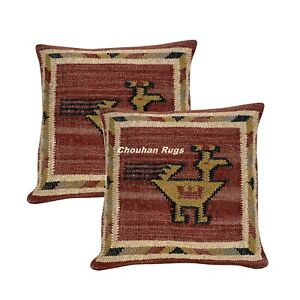 2 Set of Vintage Kilim Pillows Hand Woven Jute Rug Rustic Pillow covers 1057-BB