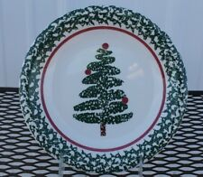 Furio Home Salad Plate Made in Italy Holiday Christmas Sponge Tree Multiple Aval