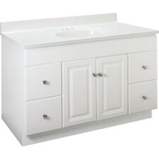 "New Bathroom Vanity Drawer Base Cabinet White Thermofoil 48"" Wide x 21"" Deep"