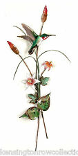 WALL ART - HUMMINGBIRD AND PINK LILIES WALL SCULPTURE - METAL WALL DECOR