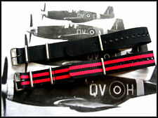 18 Black-Red NATO G10 nylon Military watch band strap 2 pak RAF Bonded IW SUISSE