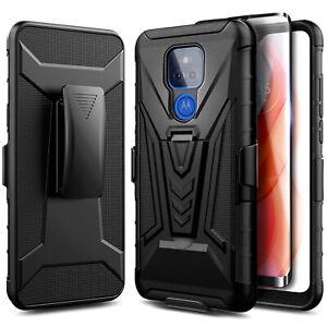 For Motorola Moto g PLAY (2021), Holster Belt Clip Stand Case + Tempered Glass