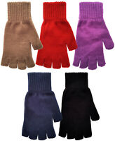 Ladies Fingerless Gloves Fine Knitted Acrylic Thermal Winter Warm One Size BNWT
