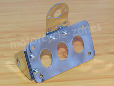 Chrome Universal Side Mount License Plate Tail Light Bracket Cafe Racer Chopper