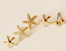 6Pcs/set Lovely Crystal Rhinestone Starfish+Steel Ball Charms Ear Studs Earrings