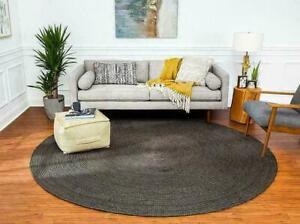 Jute Braided Rug Round Handmade Solid Black Dye Area Rug Decorative Floor Rugs