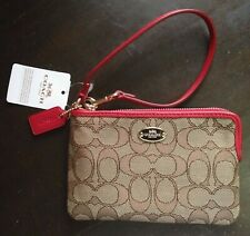AUTHENTIC Coach Signature Khaki Red Corner Zip Wallet Wrislet