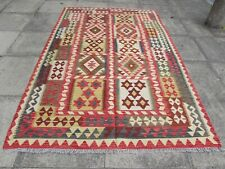 Kilim Vintage Traditional Hand Made Oriental Large Kilim Red Wool 253x164cm