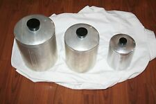 3 VTG ALUMINUM FLOUR SUGAR TEA HOLDERS CONTAINERS CANNISTERS ITALY METASCO