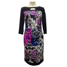 Joseph Ribkoff 171769 Women Multi Color Long Sleeve Bodycon Dress Size 14 US NWT