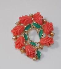 Vintage Molded Plastic Coral Color Tulip Flower Enamel Pearl Gold Brooch 6e 28