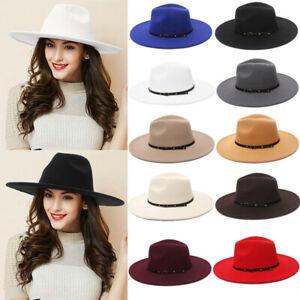 Ladies Gentlemen Men Felt Trilby Fedora Jazz Wide Brim Hat Large Cap Gangster
