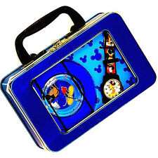 NIB Mickey Mouse Metal Pen & Pencil Box With Full Number Dial Watch & Clock $99