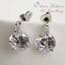 18k White Gold Plated Simulated Diamond Clear 2.0 Carat Silver Stud Earrings