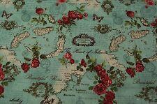 Stoff in Baumwoll und Leinenmischung Rosen grün  50x110