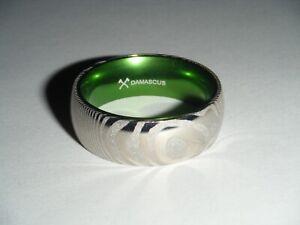 DAMASCUS STEEL 8mm Mens Wedding Band Ring (GREEN)