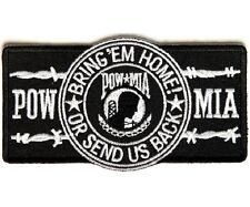 """(TT) POW MIA BARBWIRE 4.5"""" x 2.5"""" iron on patch (2325) Biker Military"""