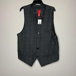 RED Saks Fifth Avenue Mens Charcoal Plaid F14-M0803R Four Button Vest Size M
