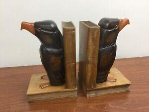 Pr Vintage Dunhill? Bird Black Raven Eagle Bakelite & Wood Carved Books Bookends